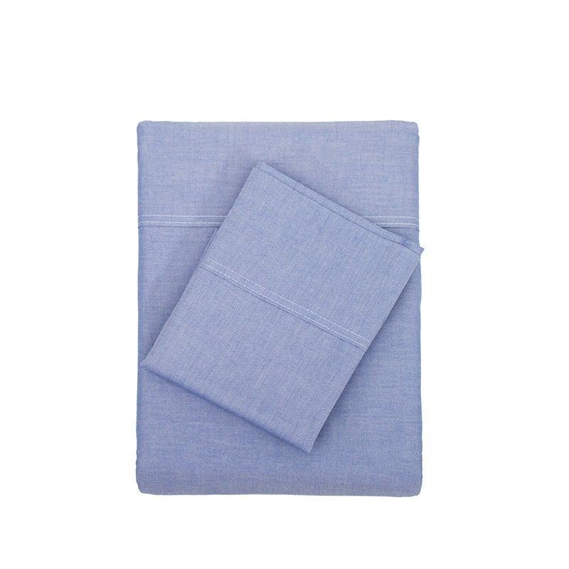 Chambray Sheet Set - 100% Cotton - Blue