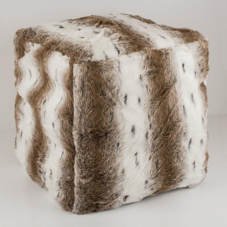 Plush Acrylic Faux Fur Ottoman Cube Cover - Arctic Fox