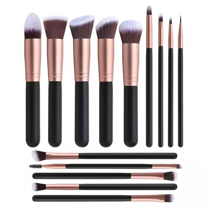 Catzon 14 Pcs Makeup Bruches Synthetic Foundation Powder Concealers Eye Shadows Makeup Brush Set - Bronze