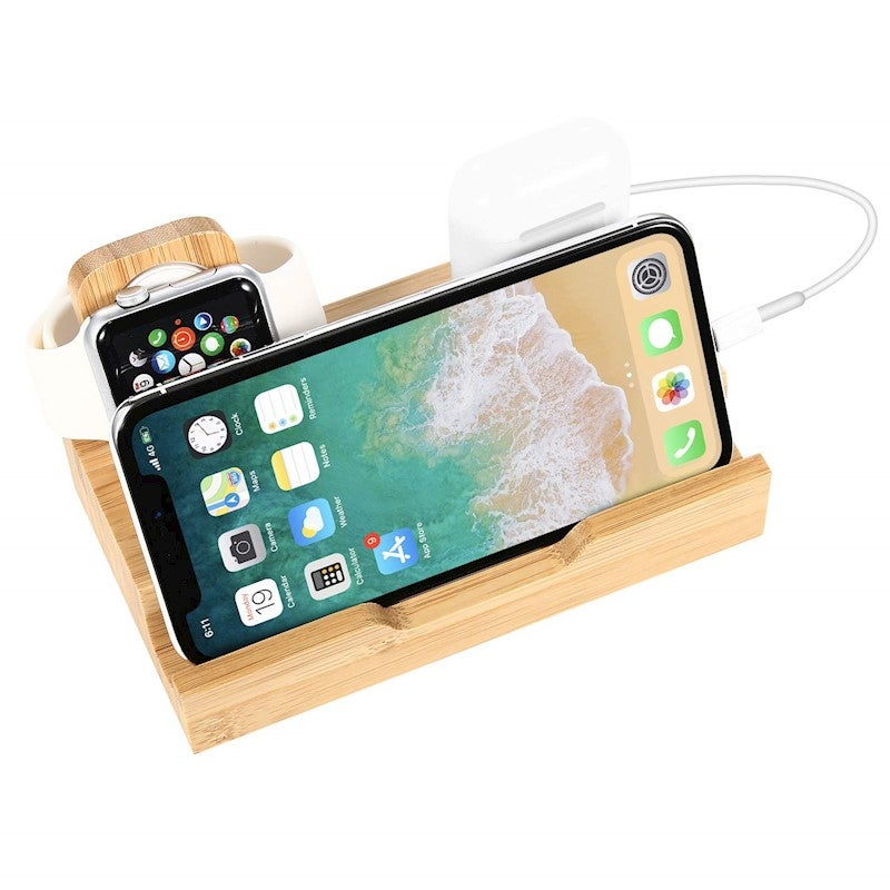Catzon 3 in 1 Watch Charger Stand Bamboo Charging Station with 2 USB Port Earbuds Charging Docking Apple 3/2/1
