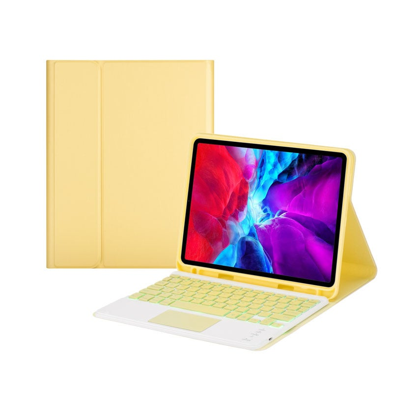 Catzon iPad Keyboard Case with 7-color Backlit Wireless Keyboard Built-in Touchpad for iPad 10.2/9.7/10.5-Yellow