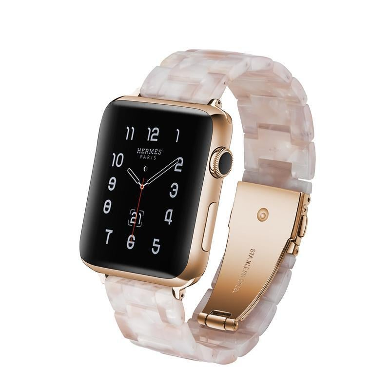 Catzon Resin Band with Stainless Steel Buckle For Apple Watch Band Series 5/4/3/2/1 iWatch Wristband Strap-FlowerPink