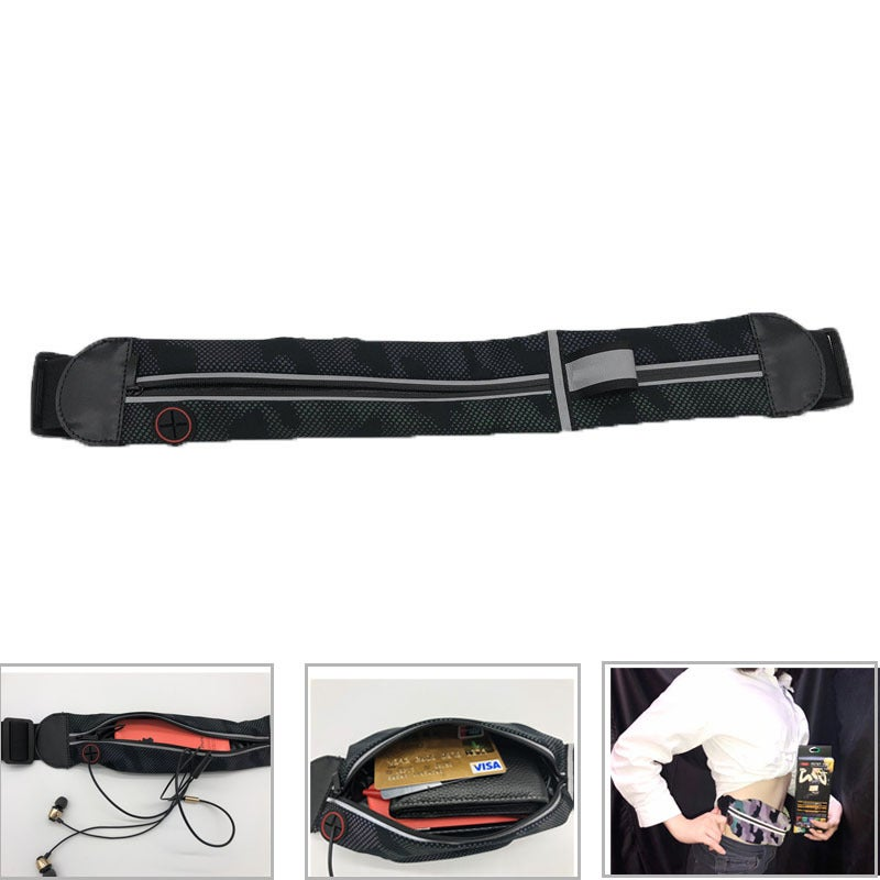 Catzon Waist Bag Waterproof Bag With Headphone Jack And Zipper Adjusting The Elastic Band Reflection For Outdoor Exercise Travel Running Hiking