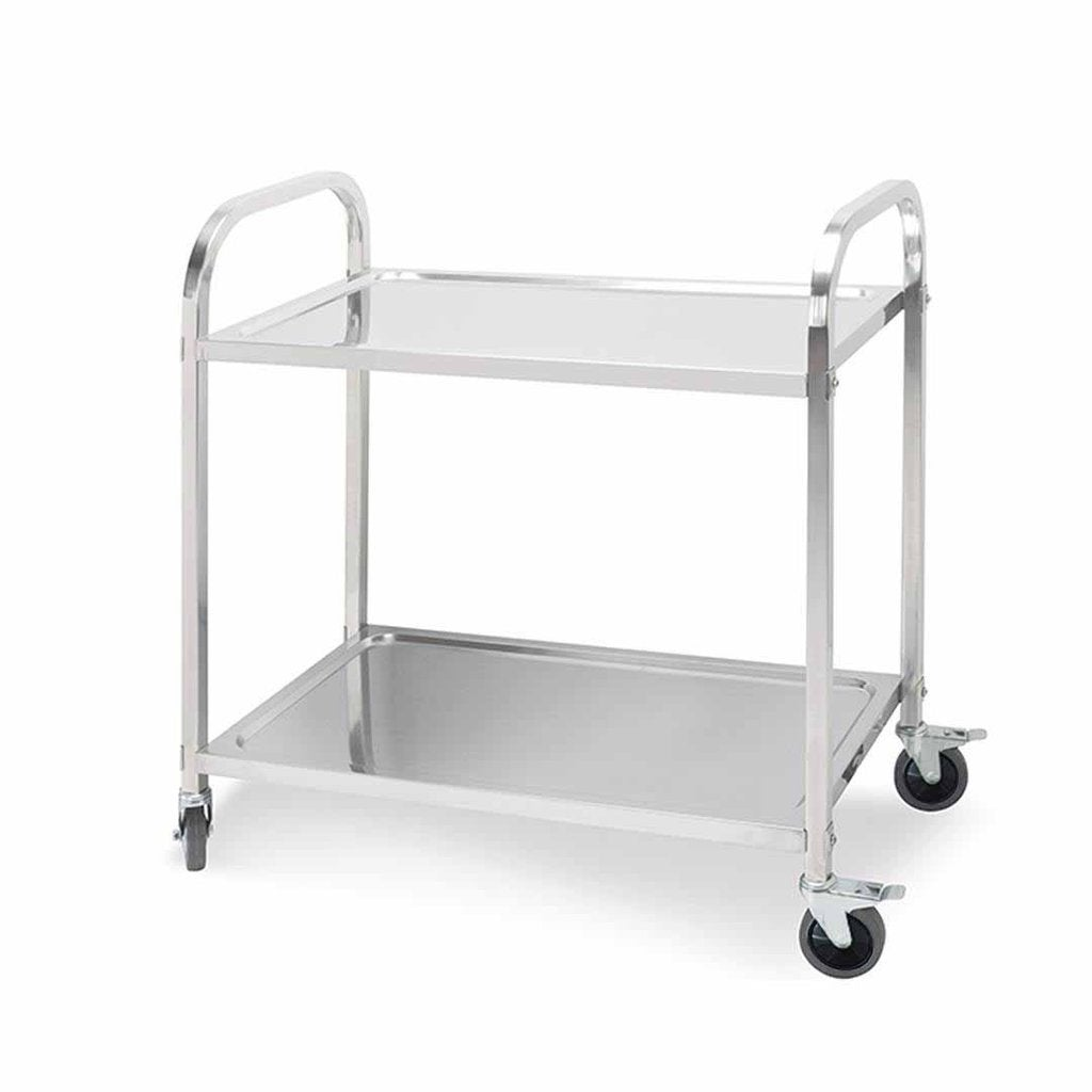 2 Tier Stainless Steel Kitchen Dining Food Cart Trolley Utility Size 95x50x95cm Large