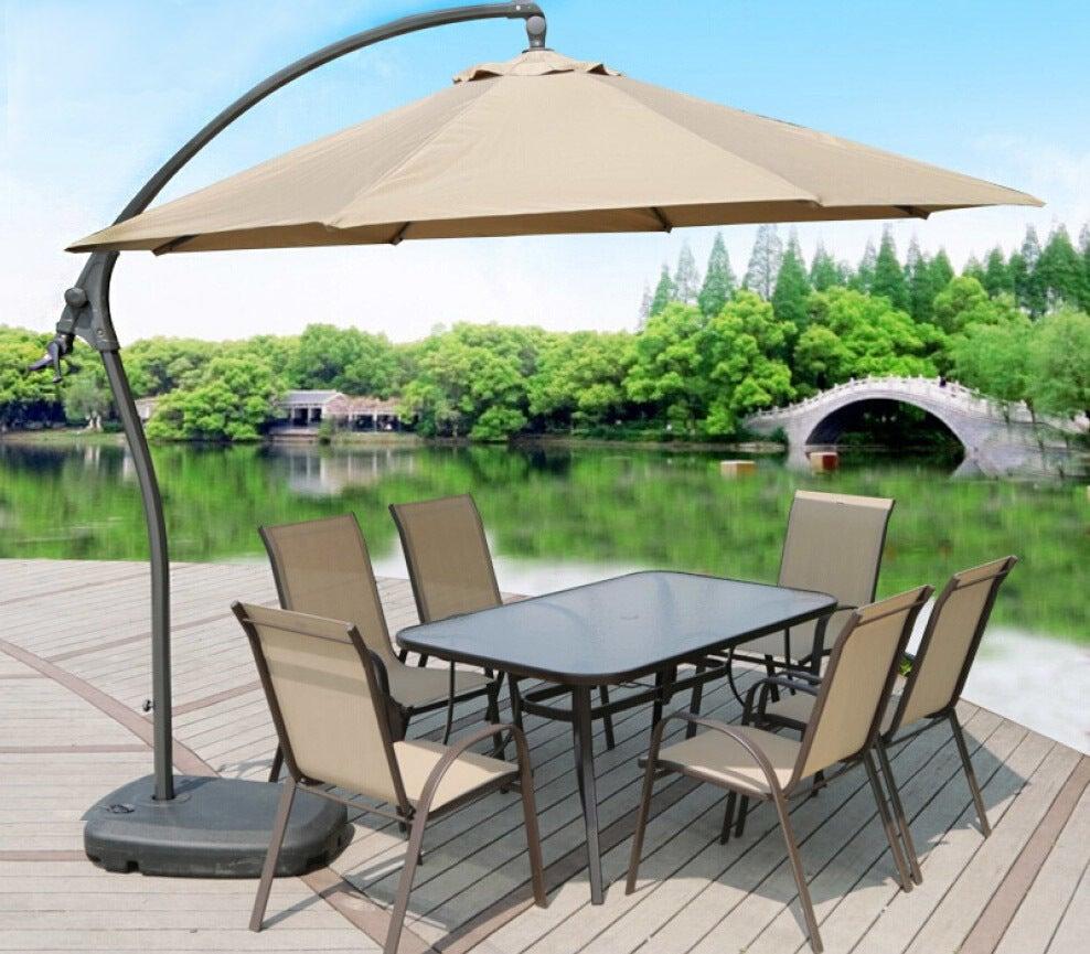 3m Heavy Duty Round Cantilever Outdoor Umbrella (Beige/Tan)