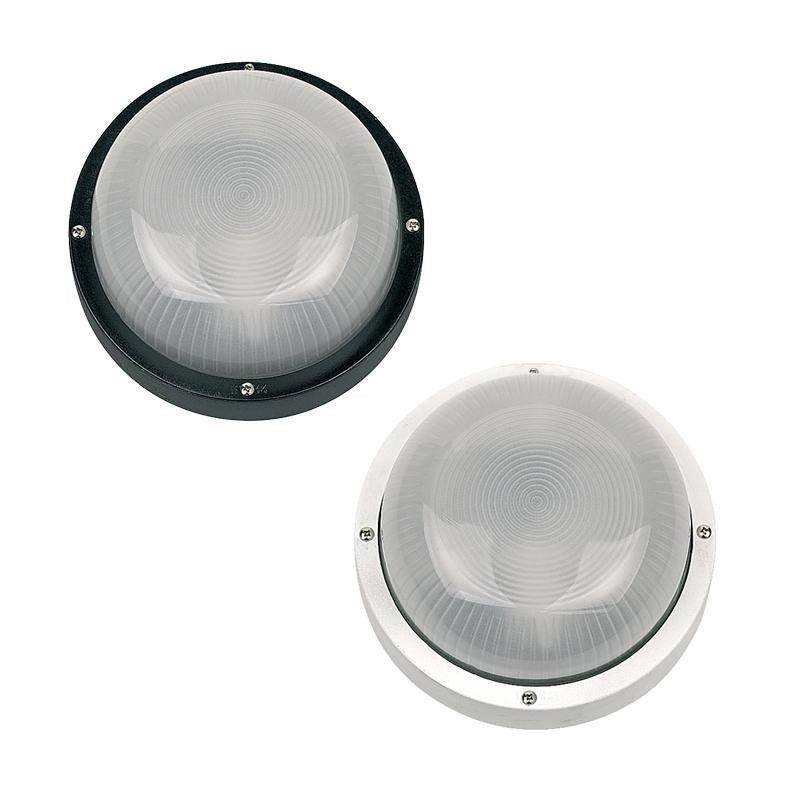 Round Plain Nylon Bulkhead E27 in Black/White Superlux Lighting - LJ7051