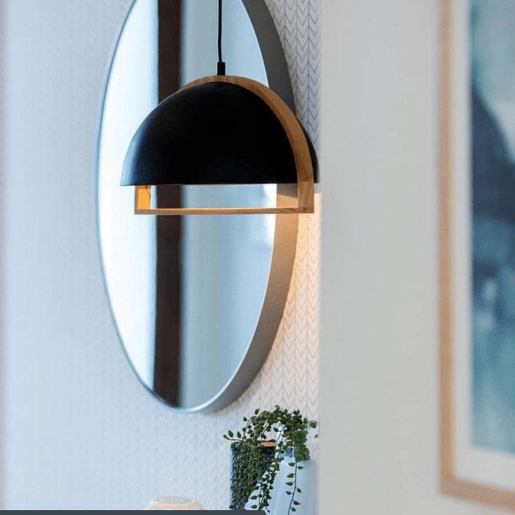 Swing Pendant Light in Oblong, Dome or Ellipse Wood Frame (White or Black)