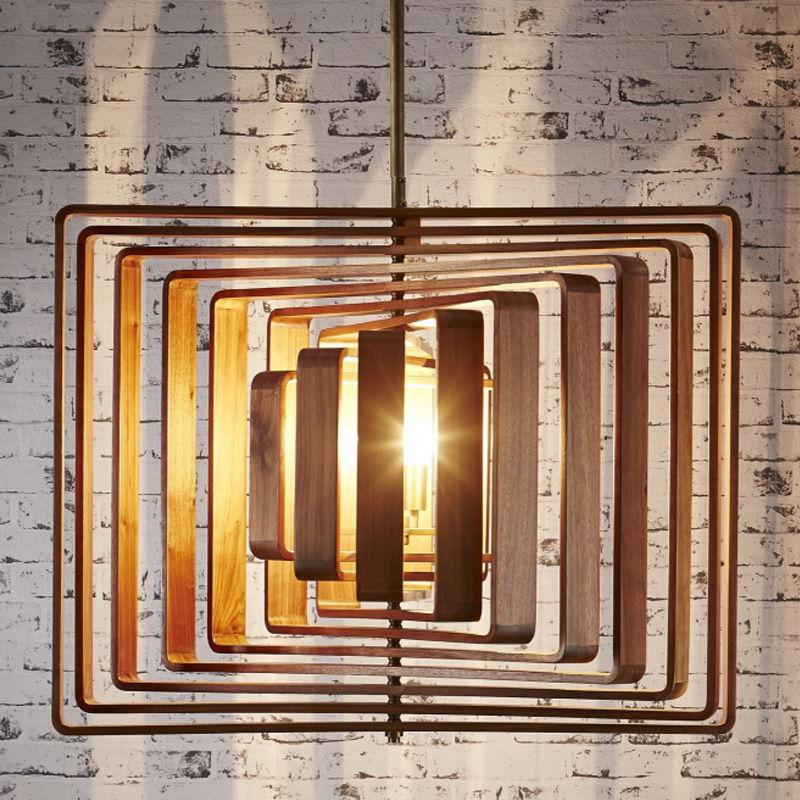 Walnut Timber Spiral Pendant Light 4x40w E14 in Solid Brass