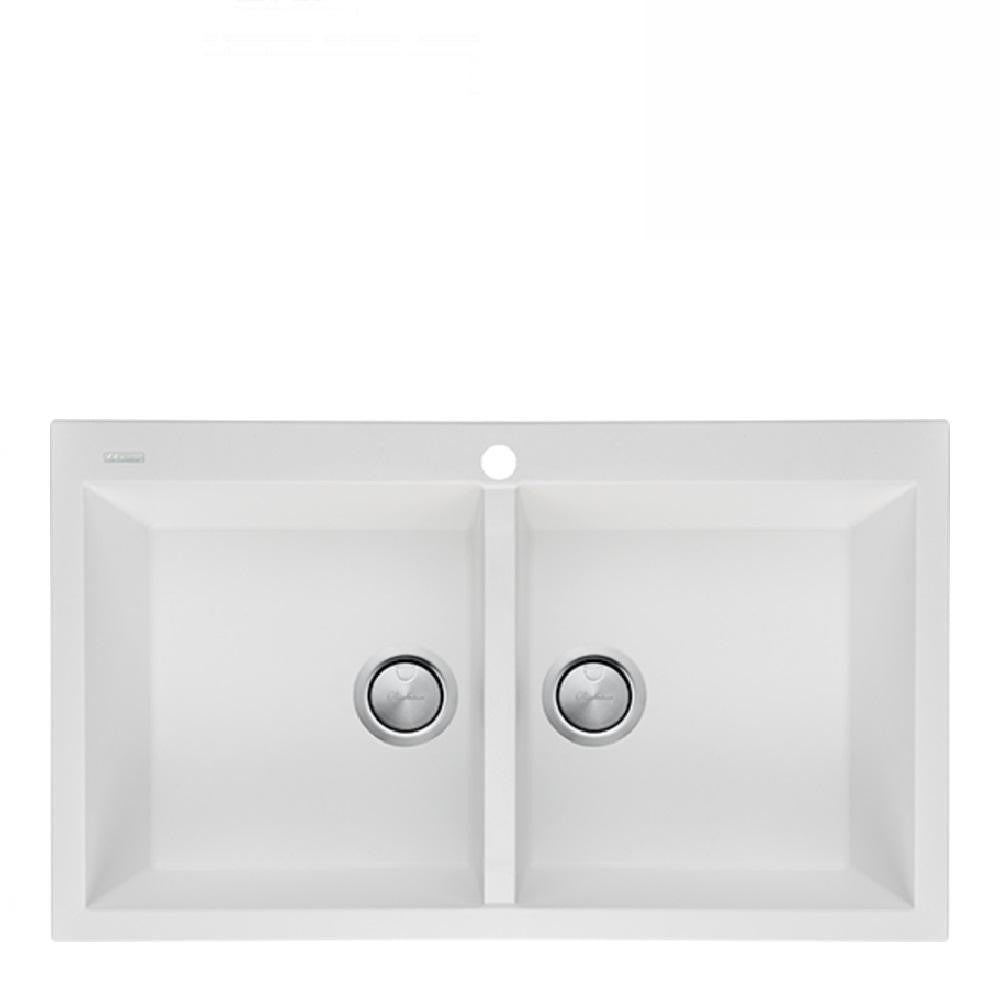 Oliveri Santorini Sink Double Bowl 860 x 510mm Top Mount White (One Taphole) ST-WH1564