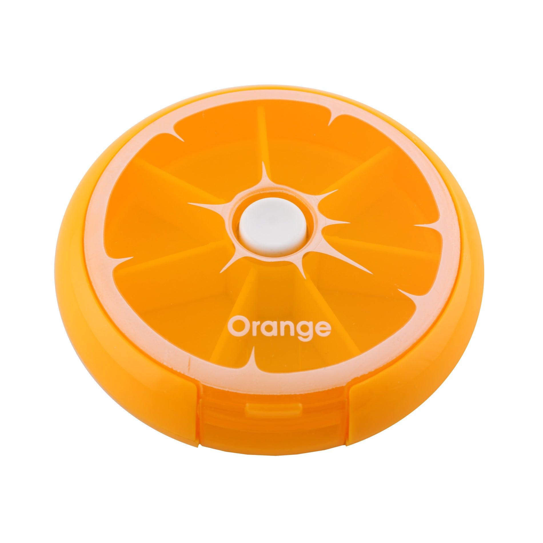 DAILY 7 DAY ROUND PILL BOX STORAGE DISPENSER ORGANISERS TABLETS CASE Orange