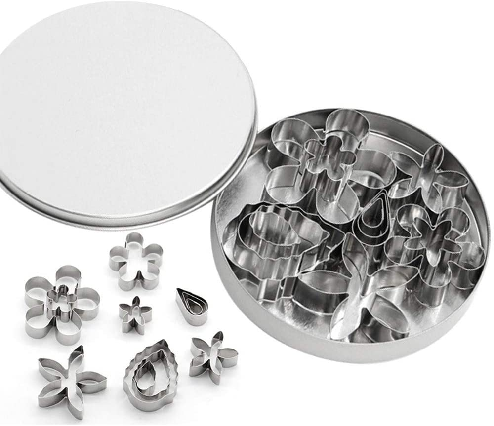 12 PCS Mini Stainless Steel Cookie Cutter Mold Kit, Flower and Leaf Shape Fondant Cake Cutter Mold for Baking, Homemade Treats