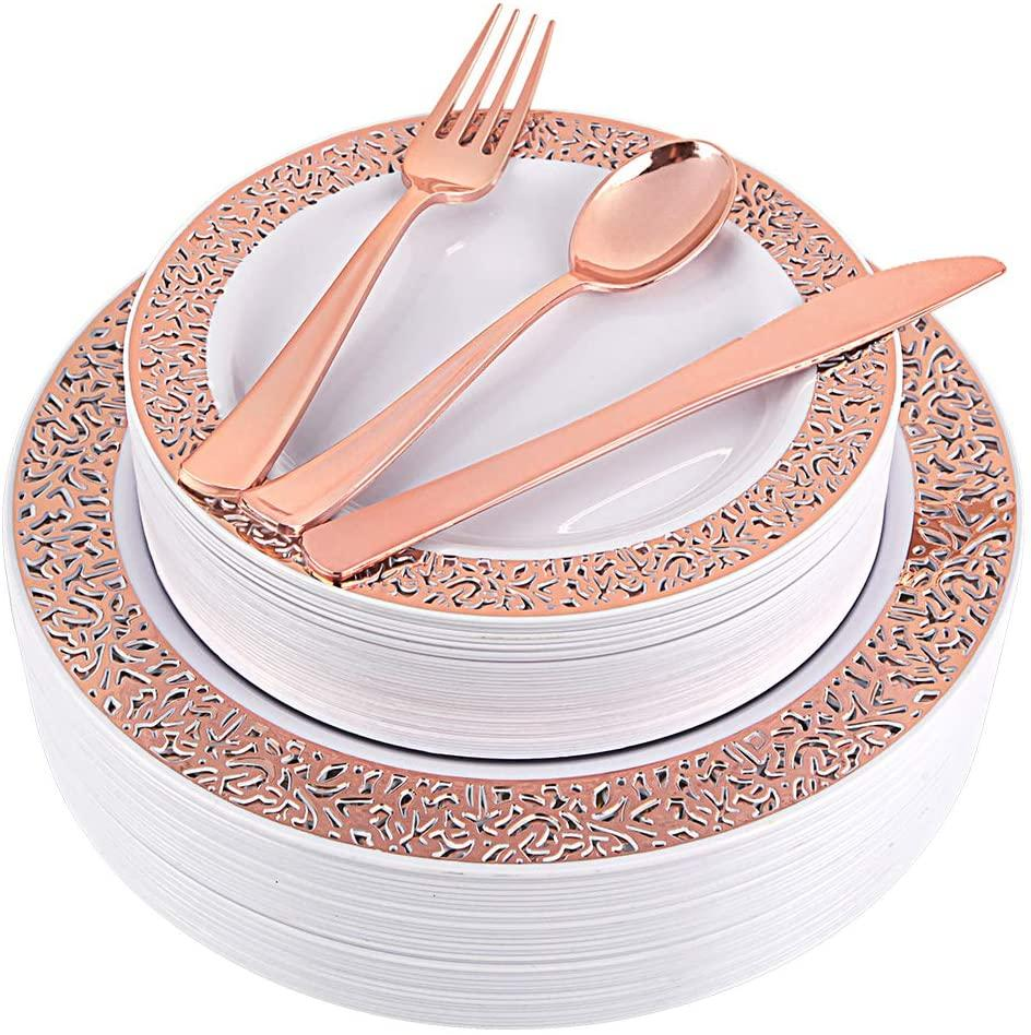 150pcs Rose Gold Plates, Rose Gold Plastic Silverware, Party Plates with Rose Gold Rim