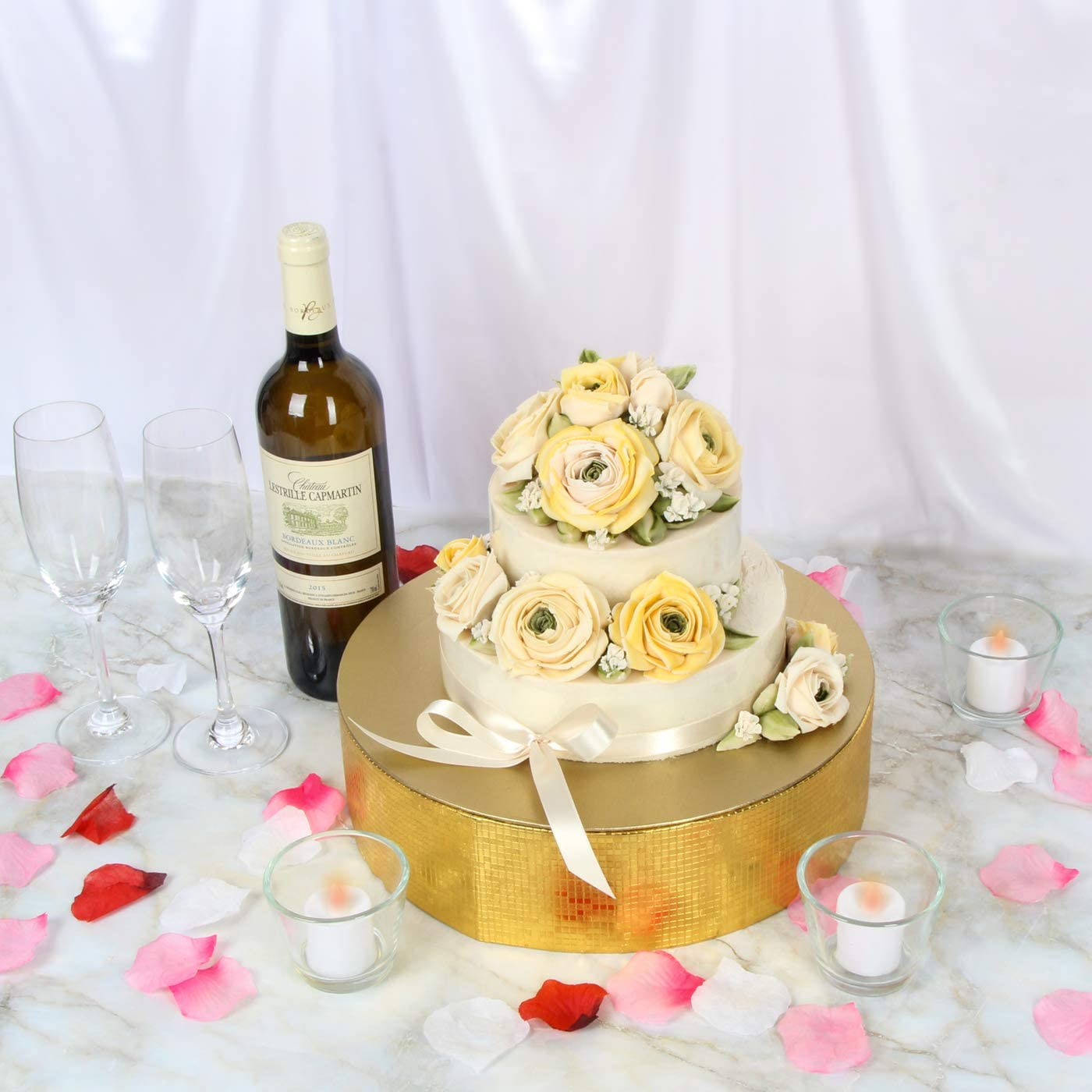 (30cm / Gold) - Jack Cube Cake Stand, Cupcake Display Supplies Tray Plate for Decorative Party(30cm / Gold) - MK197AG