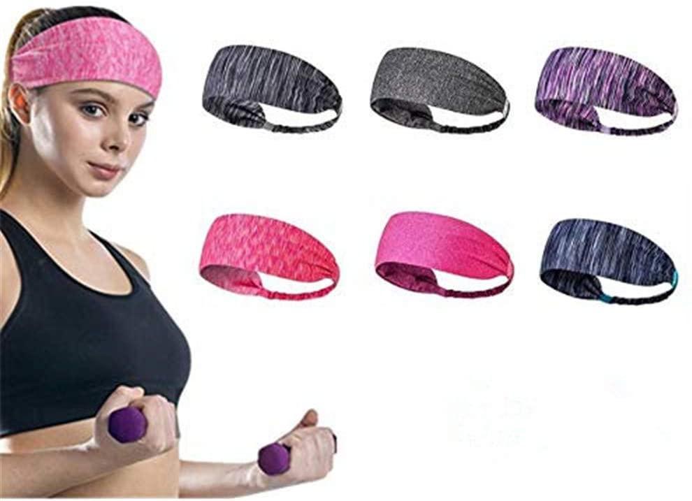 6 Pack Yoga Sports Headband Elastic Turban Hairband Mens Womens Hair Band Sweatband for Workout Gym Fitness Yoga