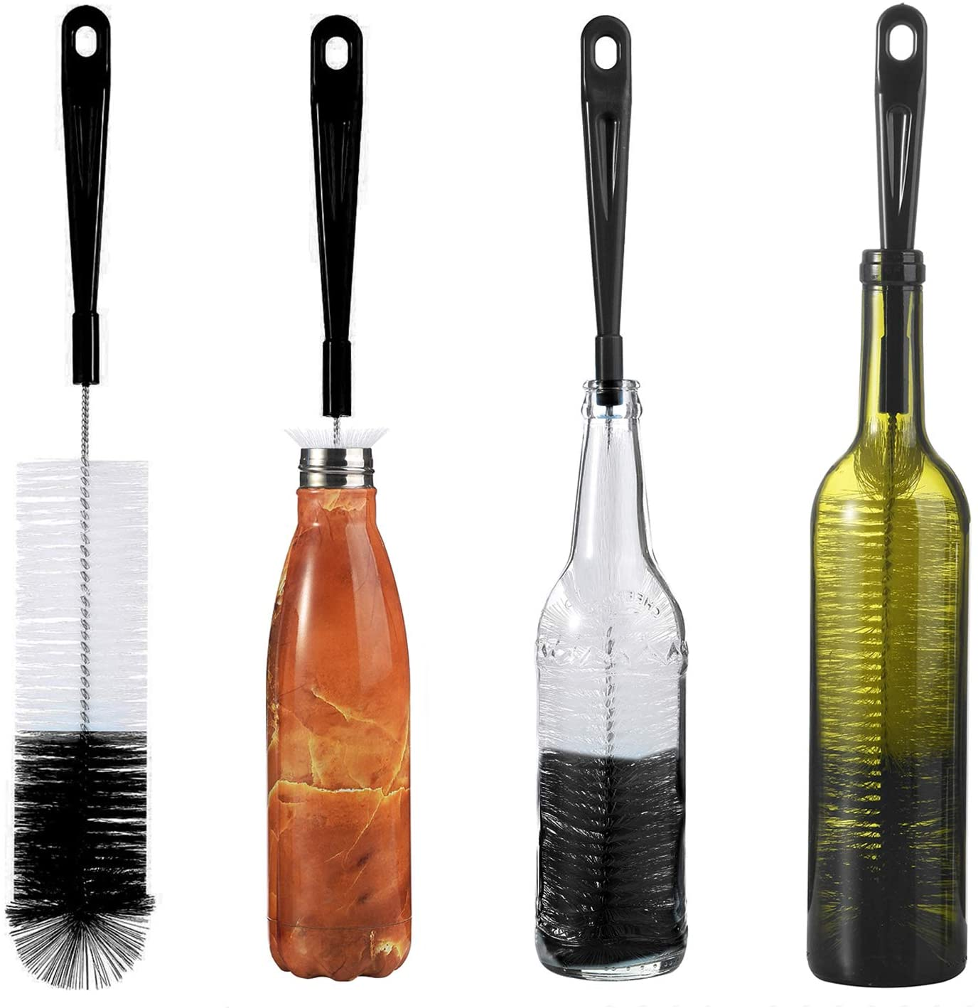 ALINK 16in Extra Long Black Bottle Cleaning Brush Cleaner for Washing Narrow Neck