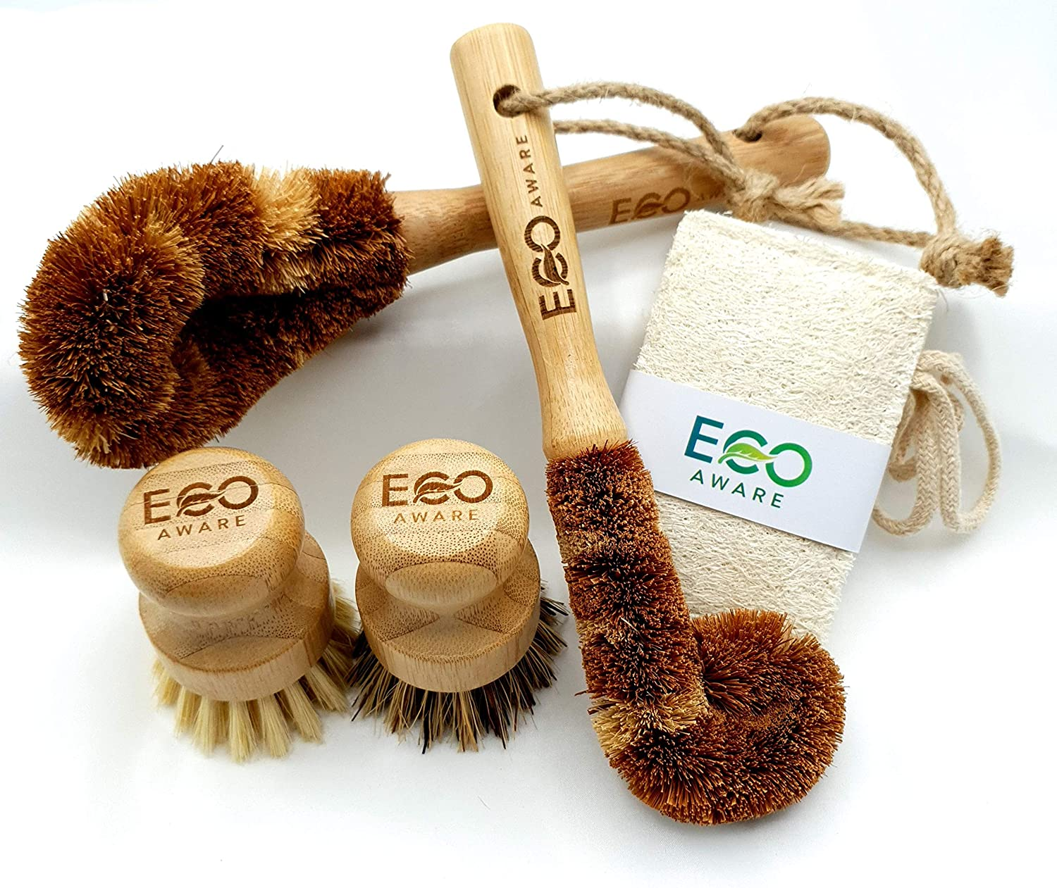 Eco-Aware Natural Bamboo Dish Scrub 4 Piece Brush Set Crafted from Coconut Fibers with Bamboo Handles