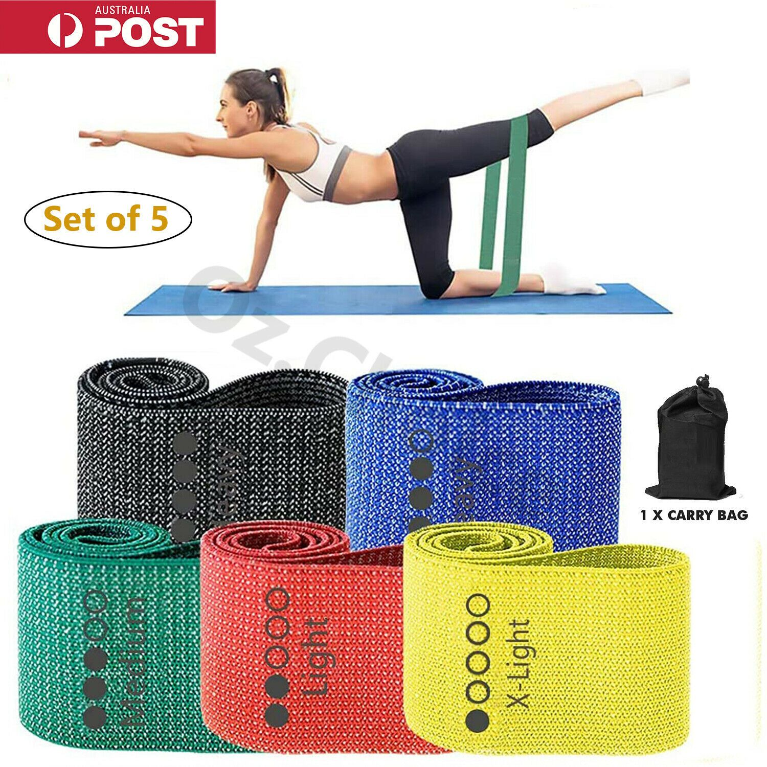 5PC Fabric Resistance Booty Bands Non Slip for Butt Legs Thighs Home Gym Workout