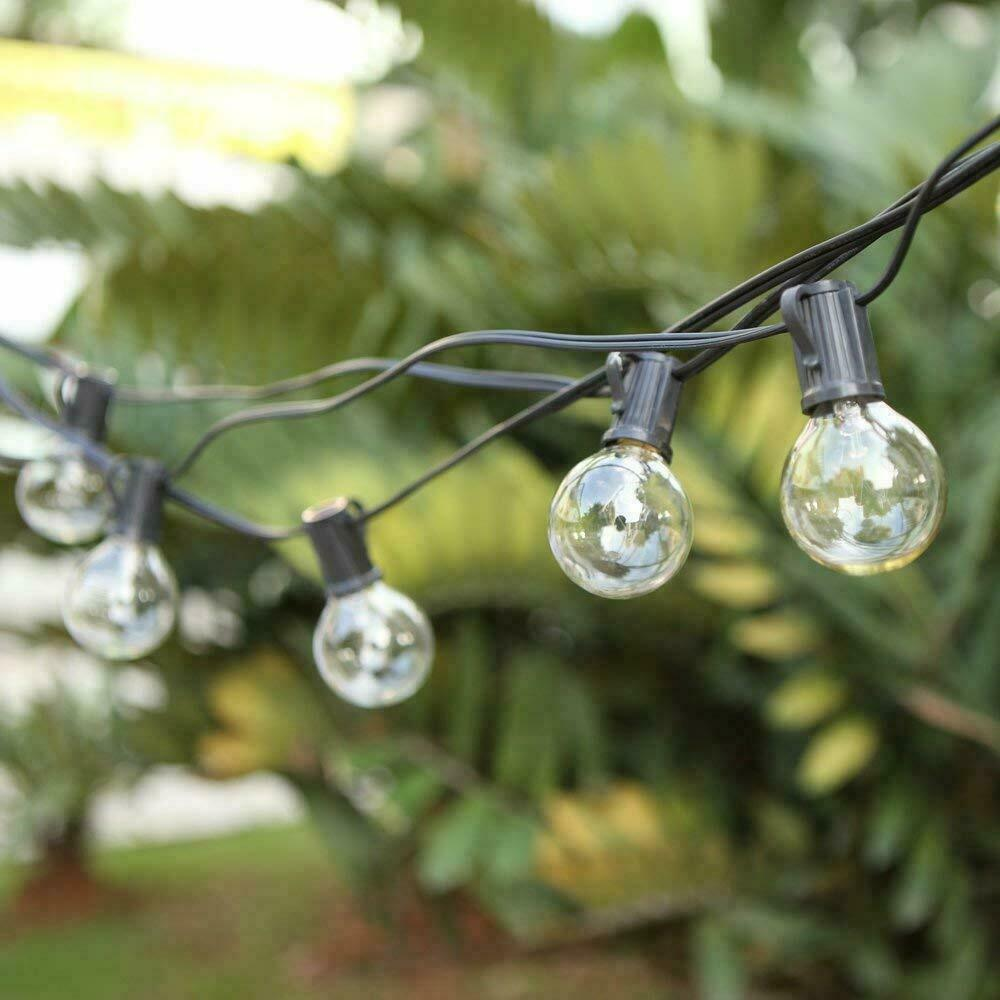 G40 Outdoor String Bulb Lights with 25 Clear Globe Bulb(2 Replacement Bulbs)- UL