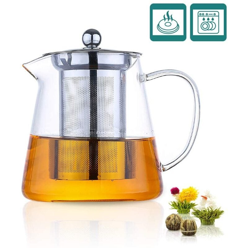 Glass Teapot 1000ml Stovetop Safe Loose Tea Maker with Removable Stainless Steel