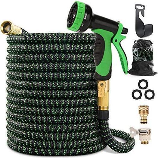 "50FT Garden Hose, Kink Free Expandable Garden Hose with 9 Function Spray Nozzle 3/4"""