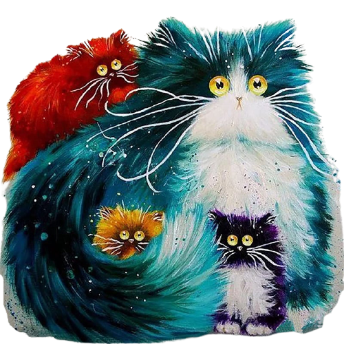 DIY Digital Canvas Oil Painting Adults Kids Paint by Number Kits Home Decorations-Cats 16 * 20 inch