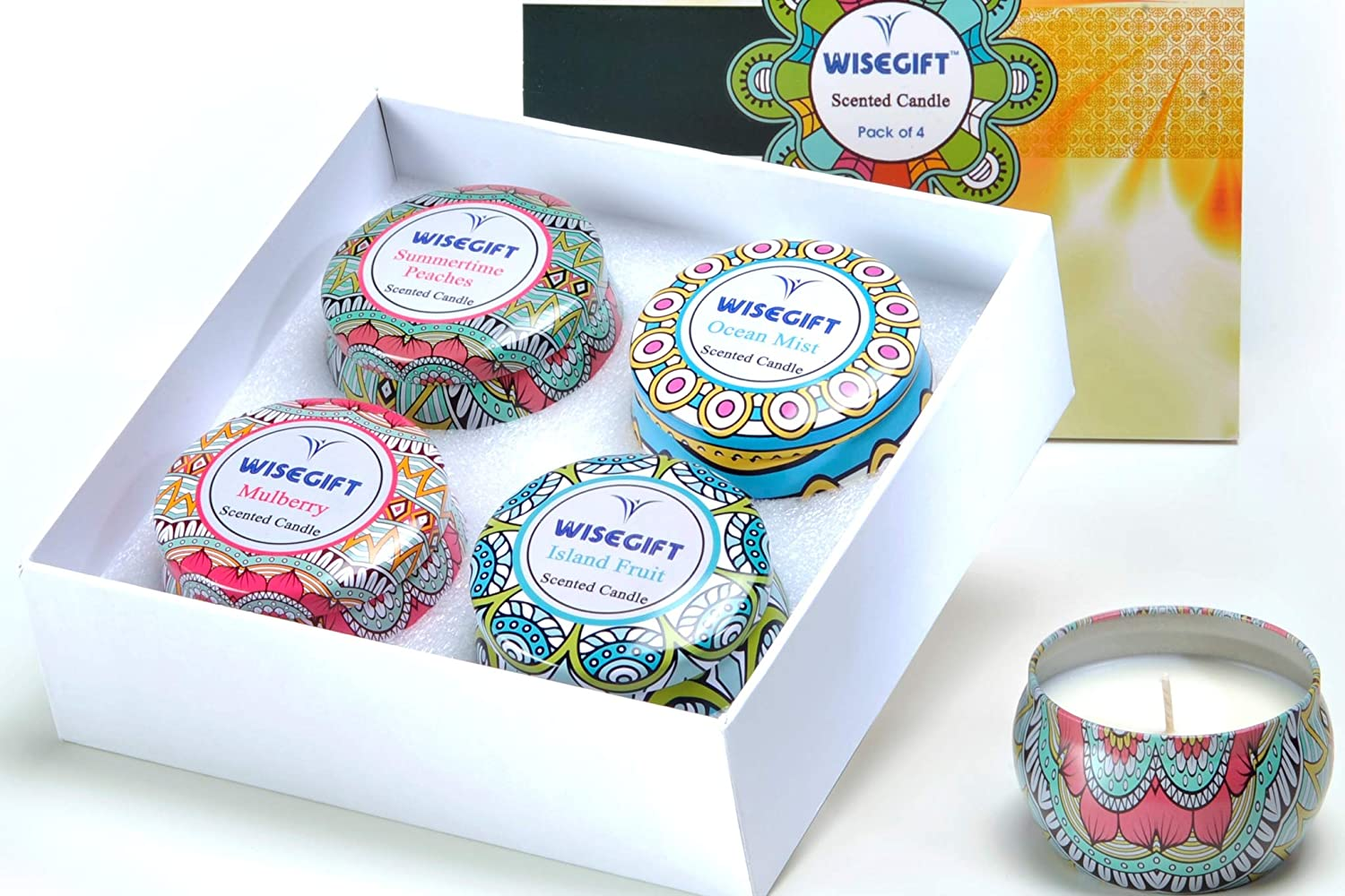 Scented Candles Gift Set of 4, 100% Natural Soy Wax Portable Travel Tin, Perfect Present