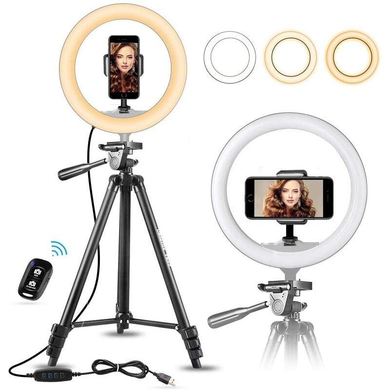 "UBeesize 10"" Selfie Ring Light with 50"" Extendable Tripod Stand & Flexible Phone Holder for Live Stream/Makeup, Mini Desktop"
