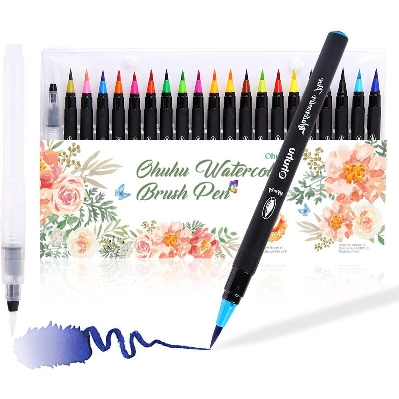 Watercolor Brush Markers Pen,20 Colors Water Based Drawing Marker Brushes W/A Water Coloring Brush, Water Colored Ink W/Soft Flexible Tip
