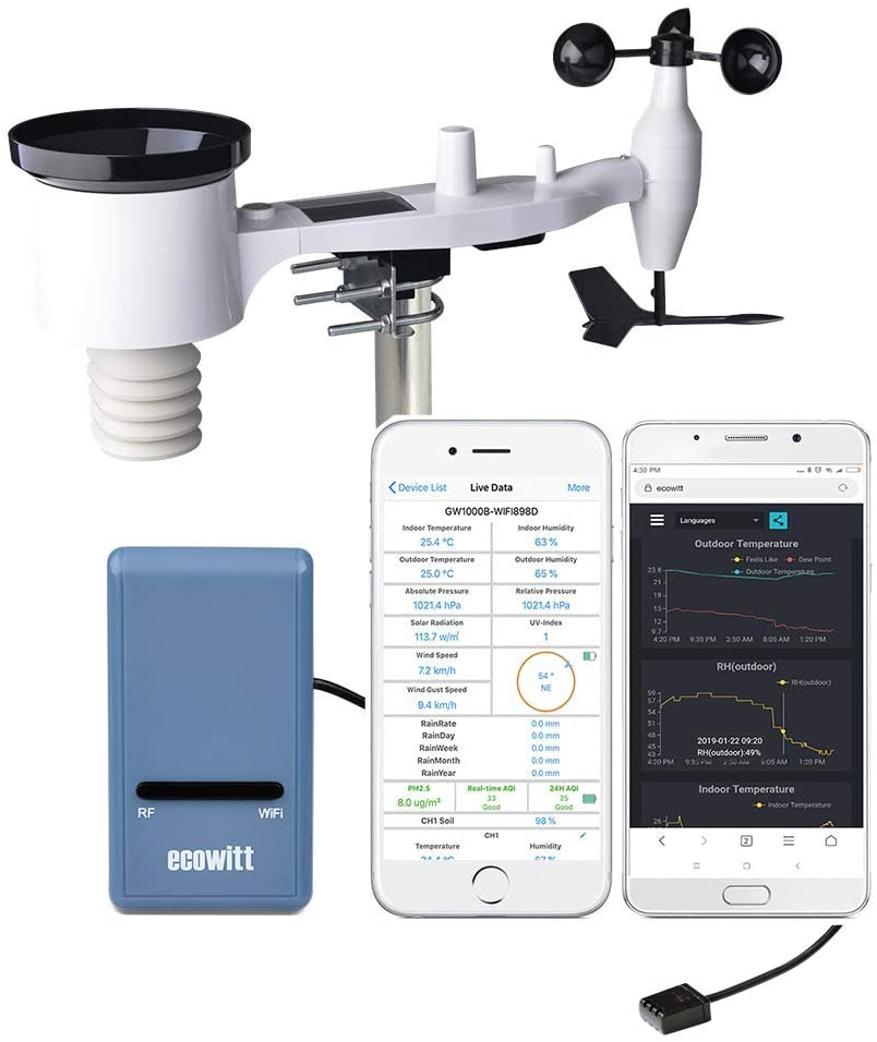 Wi-Fi Weather Station with Solar Powered 7-in-1 Outdoor Sensor Array, Weather App