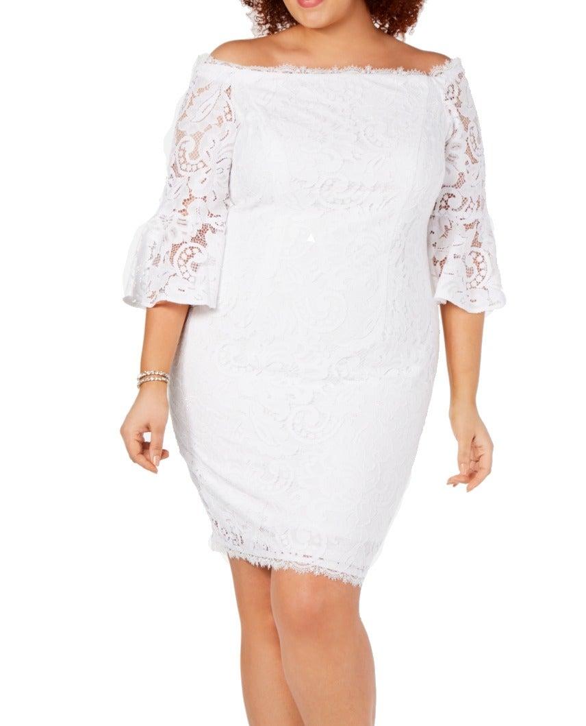 Adrianna Papell Women's Dress White Size 18W Plus Sheath Off-Shoulder