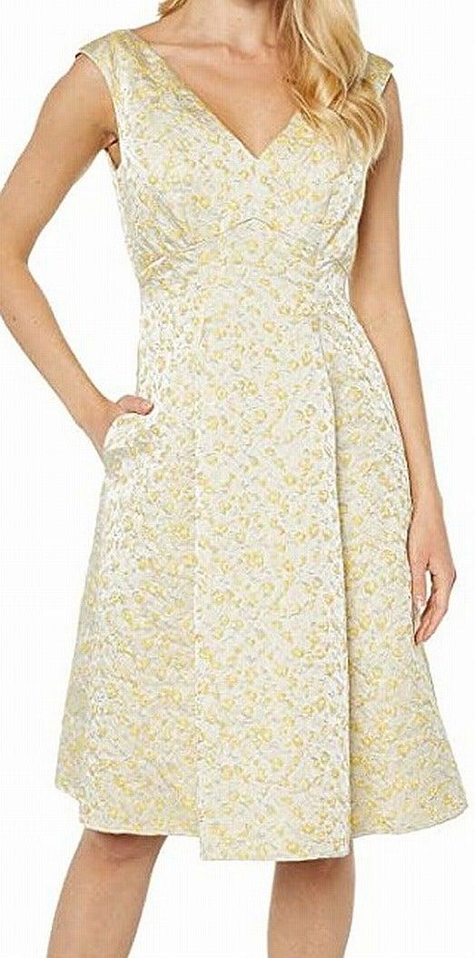 Adrianna Papell Women's Dress Yellow Size 6 A-Line Metallic Jacquard