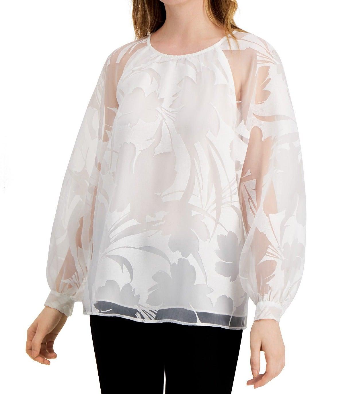 Alfani Women's Knit Top White Size XXL Floral Burnout Raglan-Sleeve