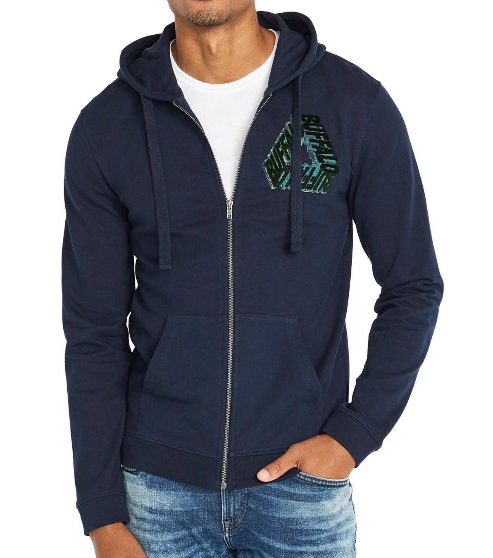 Buffalo David Bitton Mens Hoodie Blue Size XL Full Zip Velvet Logo