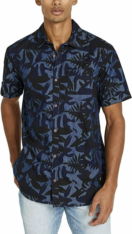 Buffalo David Bitton Mens Shirt Blue Size Small S Tropical Button Up