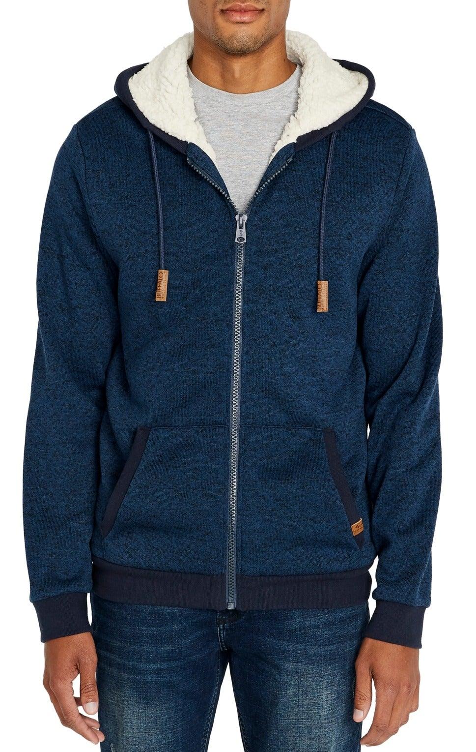 Buffalo David Bitton Mens Sweater Blue Size Large L Hooded Sherpa Zip