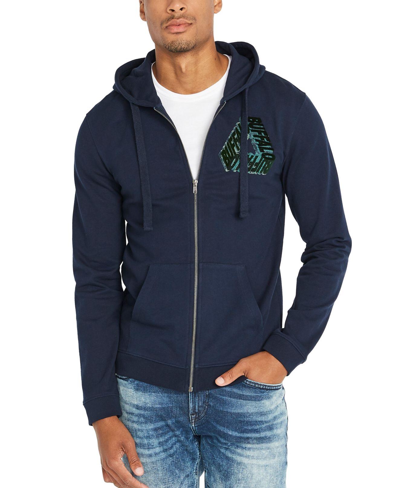 Buffalo David Bitton Mens Sweater Blue Size Small S Hooded Embossed