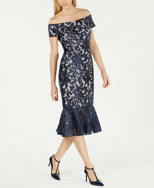 Calvin Klein Women's Dress Blue Size 2 A-Line Lace Midi Mermaid Hem