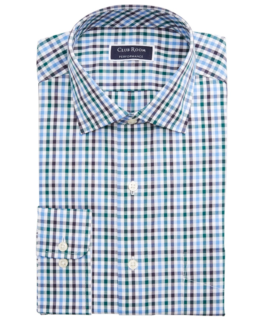 Club Room Mens Dress Shirt Blue Size 18 1/2 Regular Fit Gingham Print