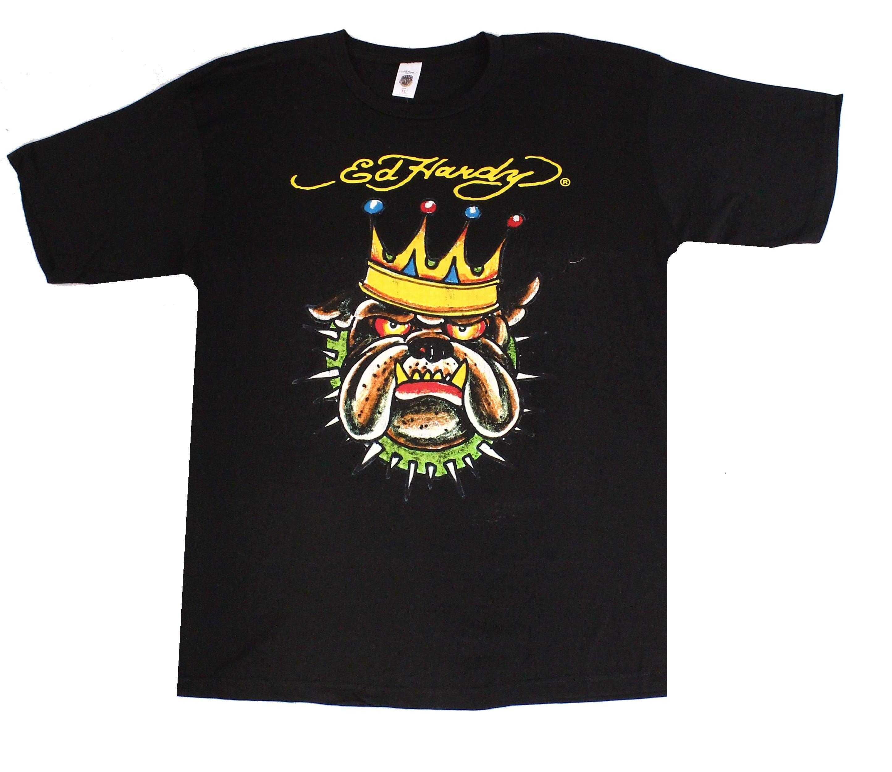 Ed Hardy Mens Shirt Black Size XL King Bulldog Crewneck Graphic Tee
