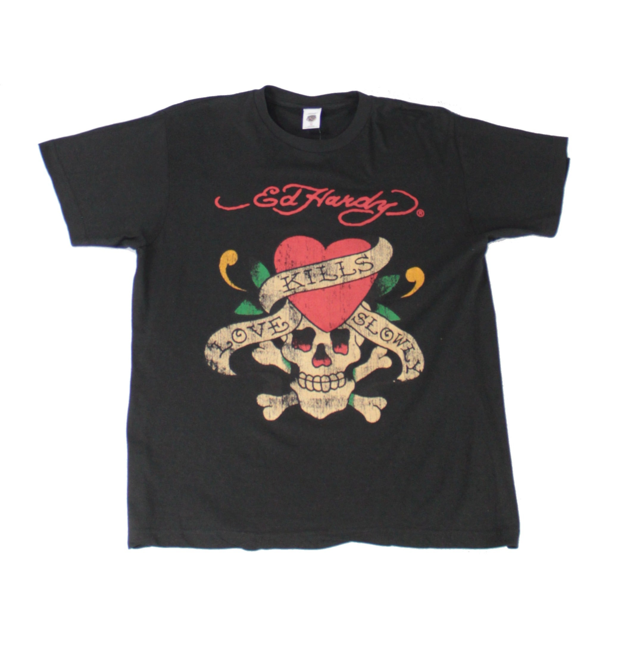 Ed Hardy Mens T-Shirt Black Size 2XL Crew Neck Love Kills Slowly Tee