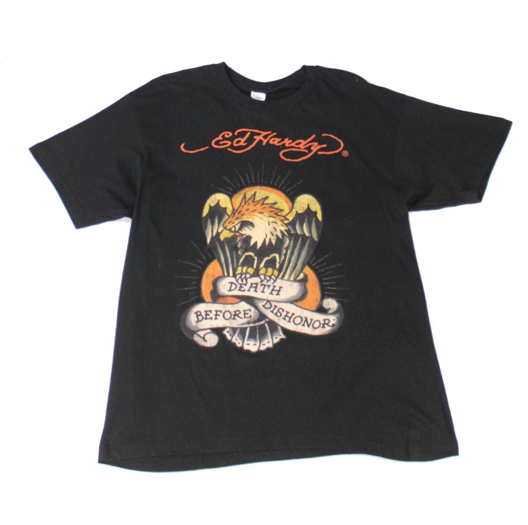 Ed Hardy Mens T-Shirt Black Size Large L Beath Before Dishonor Graphic