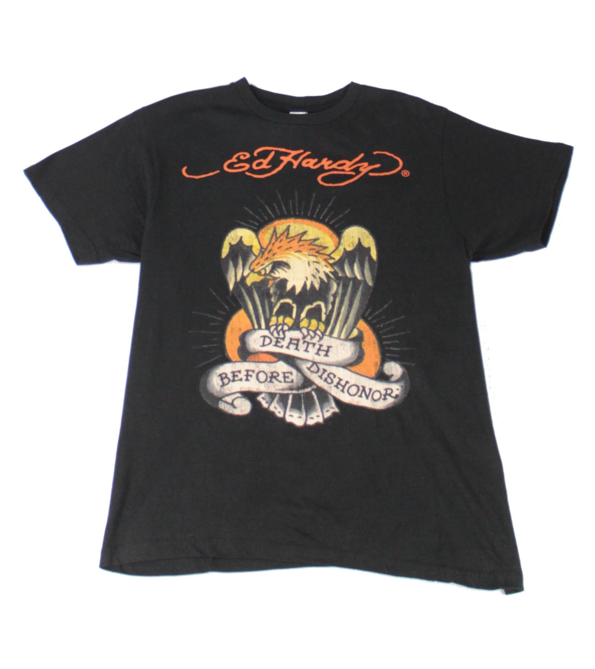 Ed Hardy Mens T-Shirt Black Size Medium M Death Before Dishonor Tee