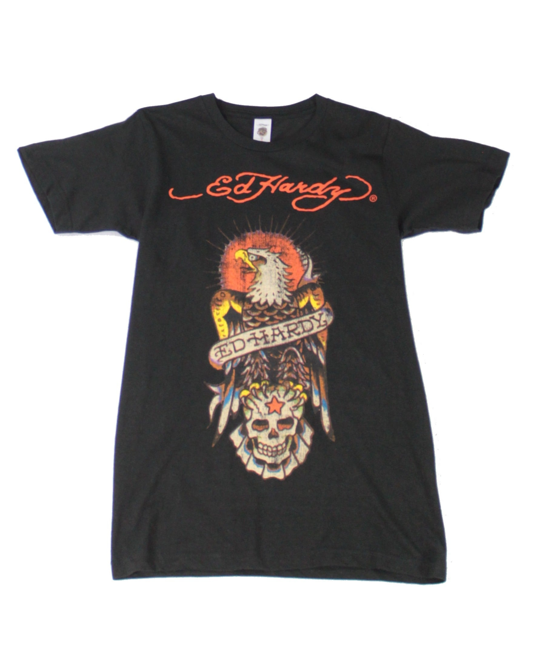 Ed Hardy Mens T-Shirt Black Size Small S Crew Neck Eagle Graphic Tee