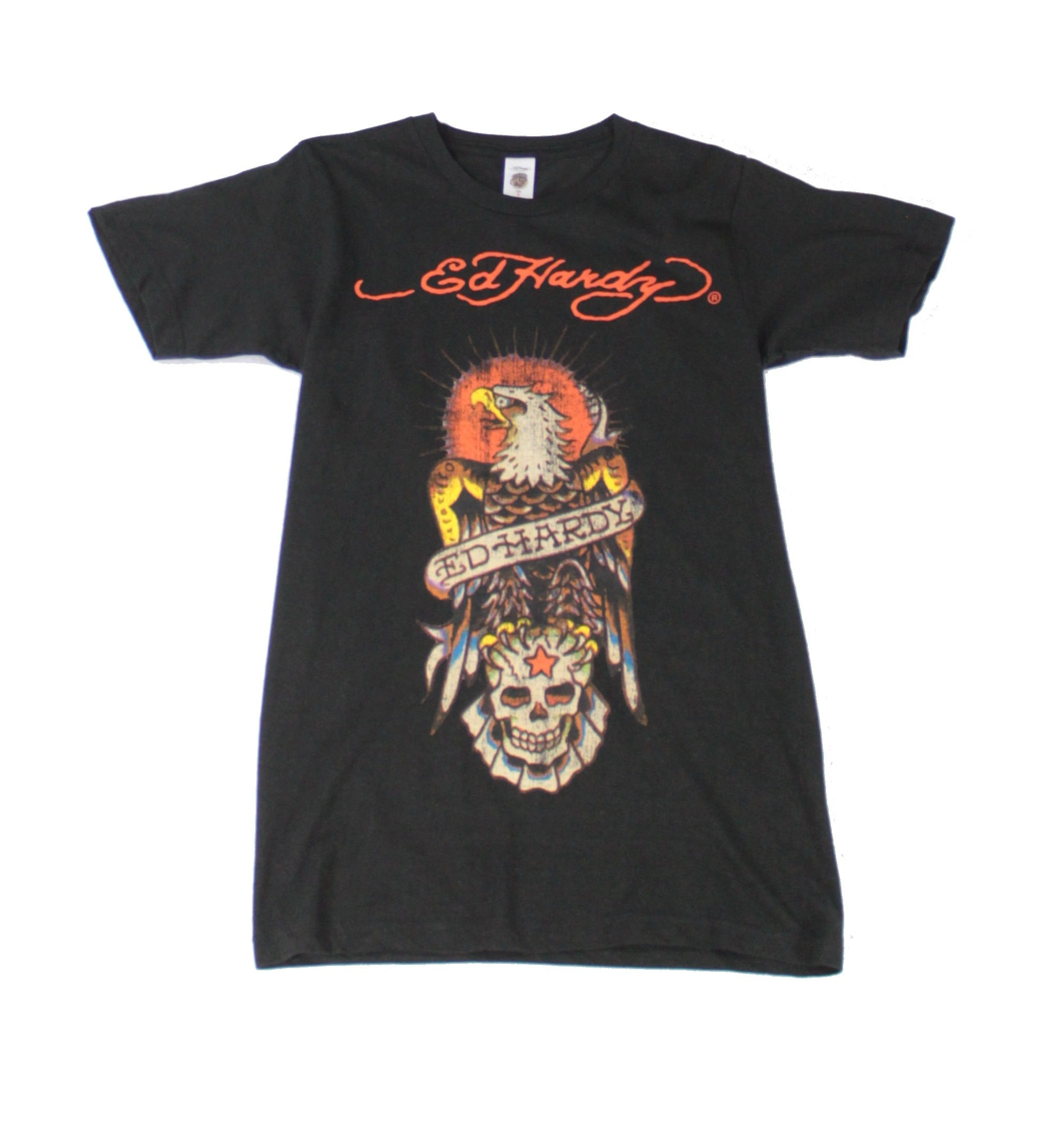 Ed Hardy Mens T-Shirt Black Size XL Crew Neck Eagle Graphic SS Tee