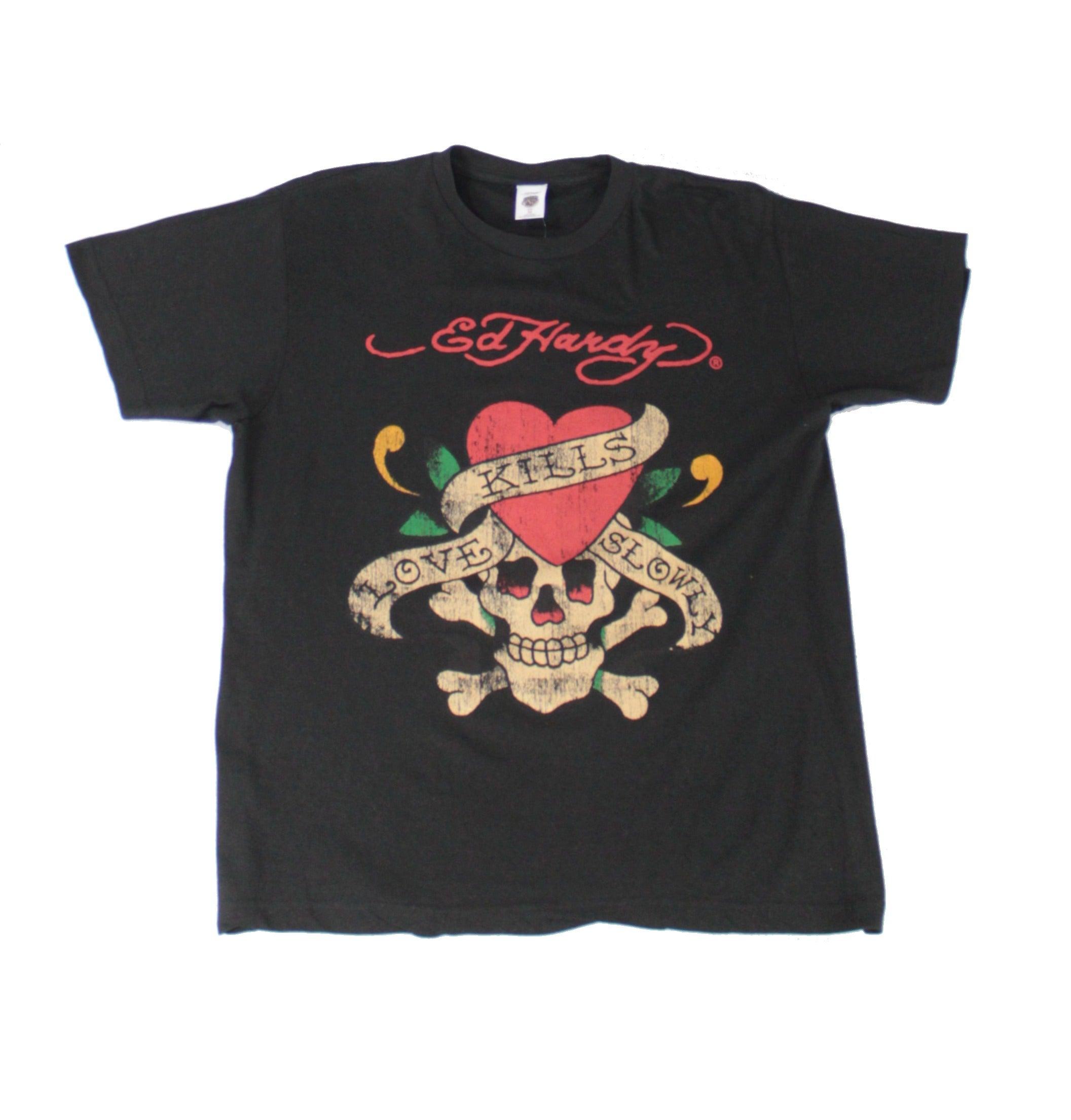 Ed Hardy Mens T-Shirt Black Size XL Crew Neck Love Kills Slowly Tee