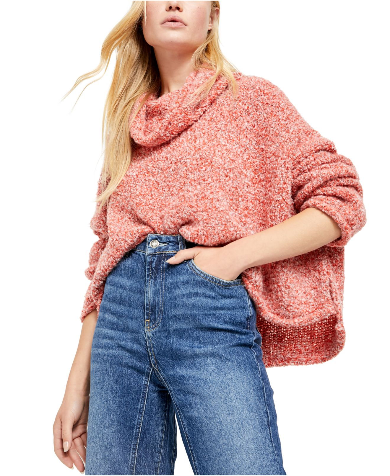 Free People Women's Sweater Red Lotus Size Small S BFF Cowl Neck