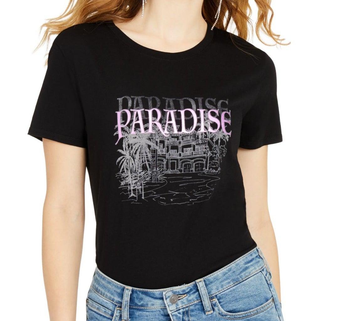 Guess Women's T-Shirt Classic Black Size Small S Metallic Paradise Tee