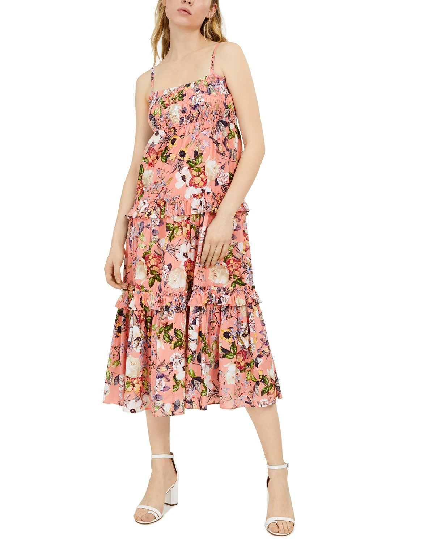 INC Women's Dress Pink Size XL Maxi Smocked Floral Print Ruffle