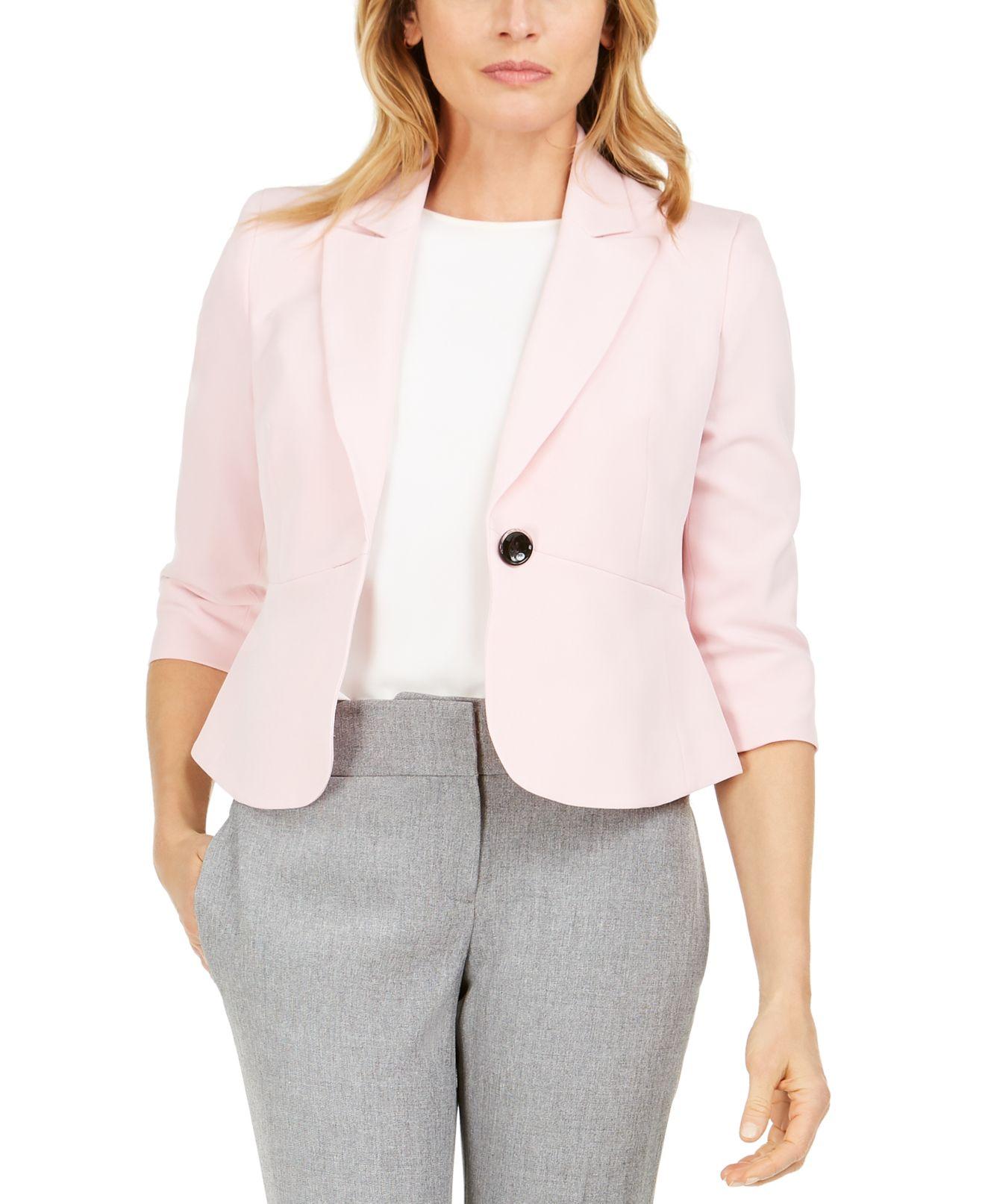 Kasper Womens Jacket Pink Size 6P Petite Stretch One-Button 3/4 Sleeve