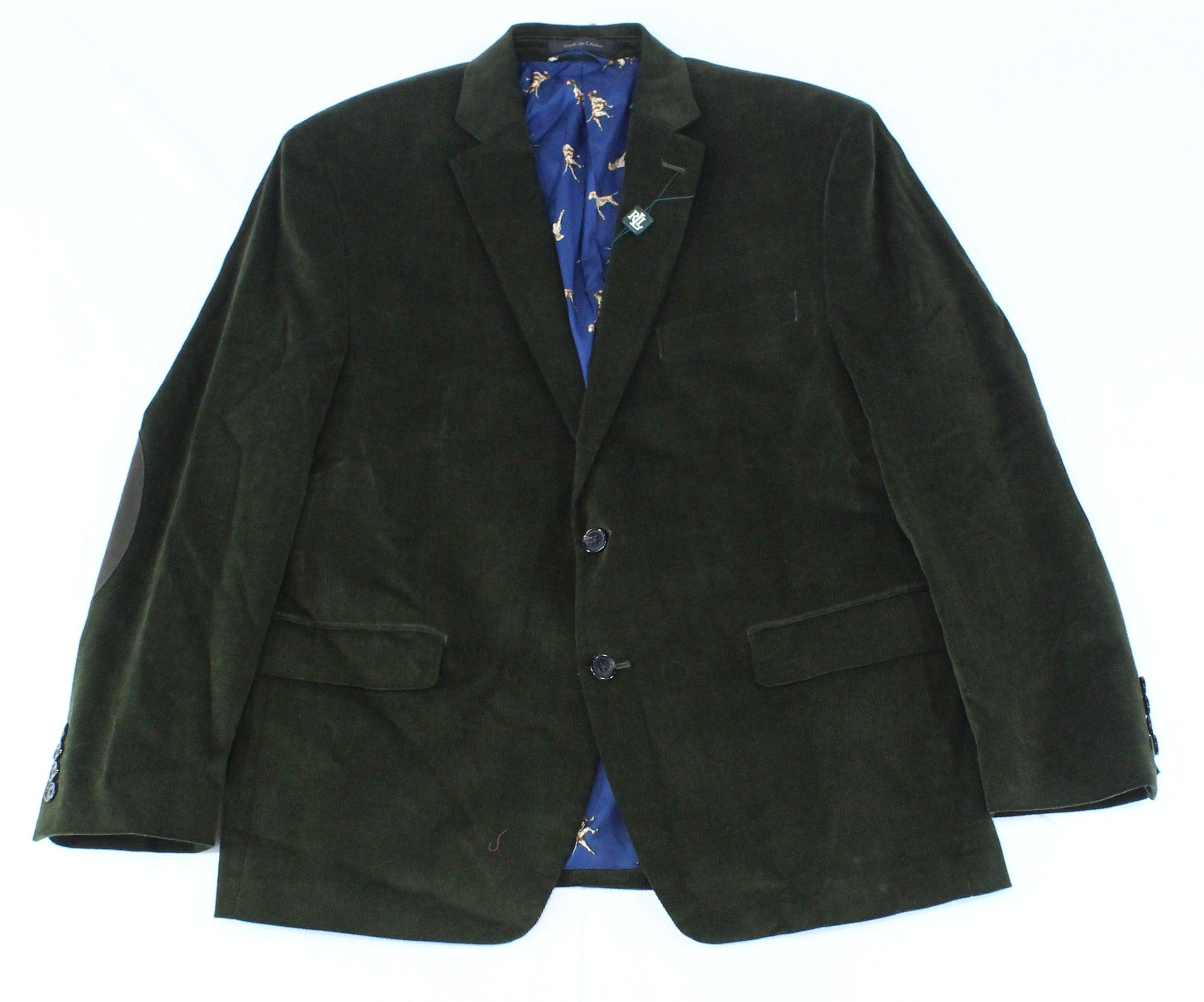 Lauren by Ralph Lauren Mens Overcoat Deep Green Size 38S Corduroy